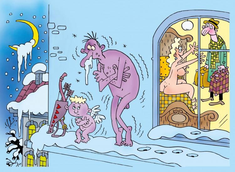 Малюнок  про амура, коханців, холод вульгарний
