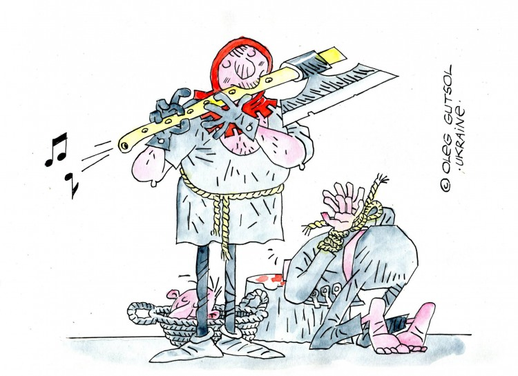 Малюнок  про флейту, ката, страту, жорстокий, цинічний чорний