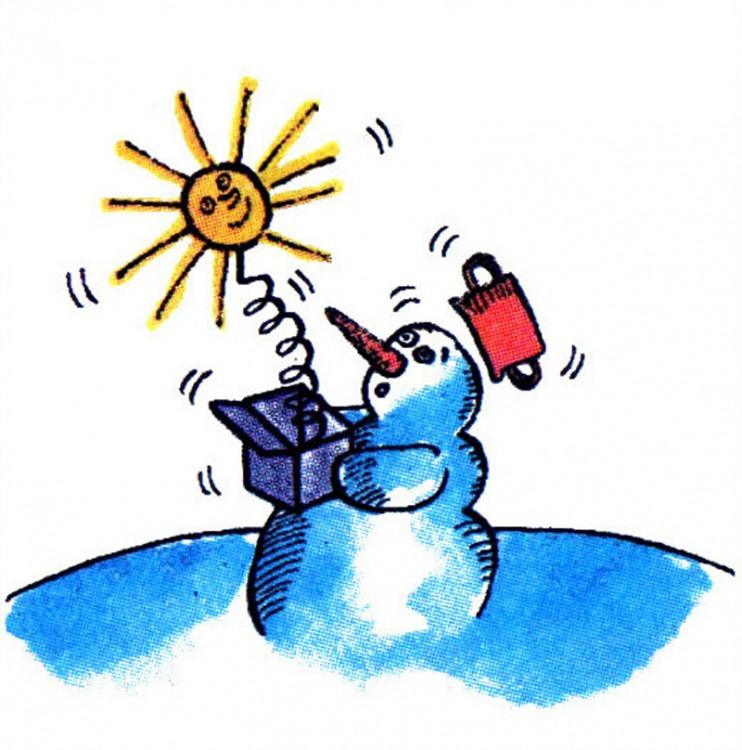Малюнок  про сніговика, сонце журнал перець