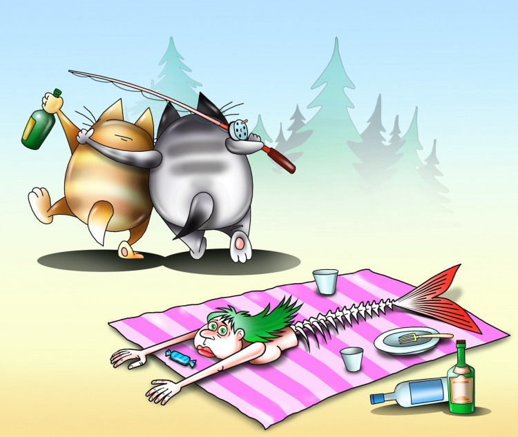 Малюнок  про котів, русалок, рибалок чорний