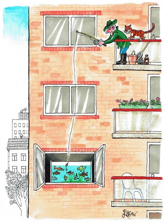 Малюнок  про рибалок та акваріум
