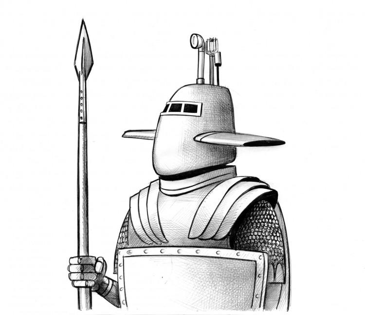 Малюнок  про лицарів та підводний човен