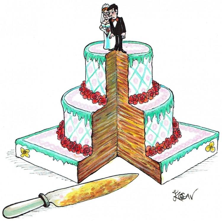 Малюнок  про торт та весілля