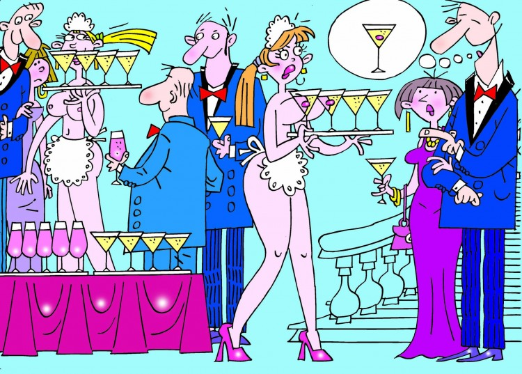 Малюнок  про офіціантів, коктейль, жіночі груди вульгарний