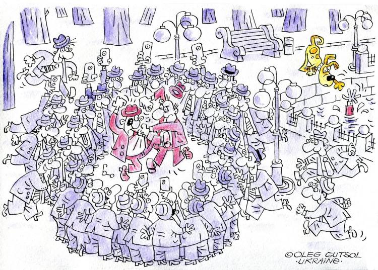 Малюнок  про бійку, потопаючих чорний