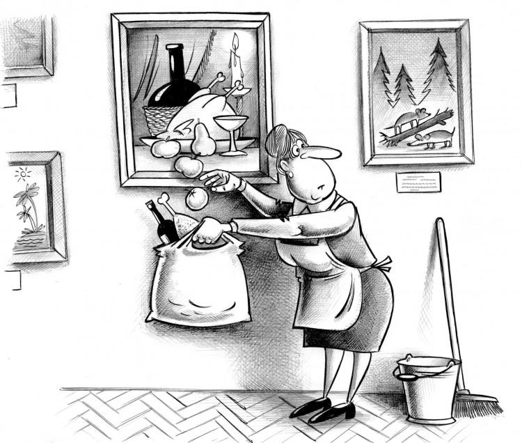 Малюнок  про картини, натюрморт, прибиральниць та крадіжку