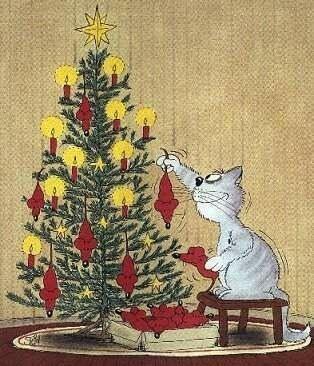 Малюнок  про новий рік, котів та ялинку