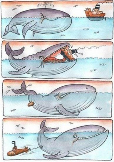 Малюнок  про китів та підводний човен