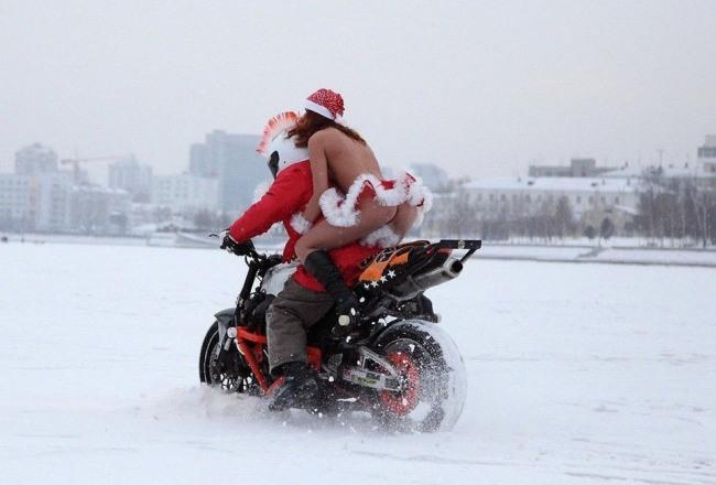 Фото прикол  про мотоциклістів, зиму вульгарний