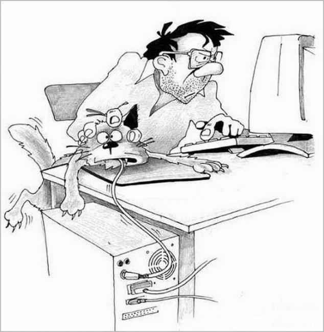 Малюнок  про комп'ютерну мишу та котів