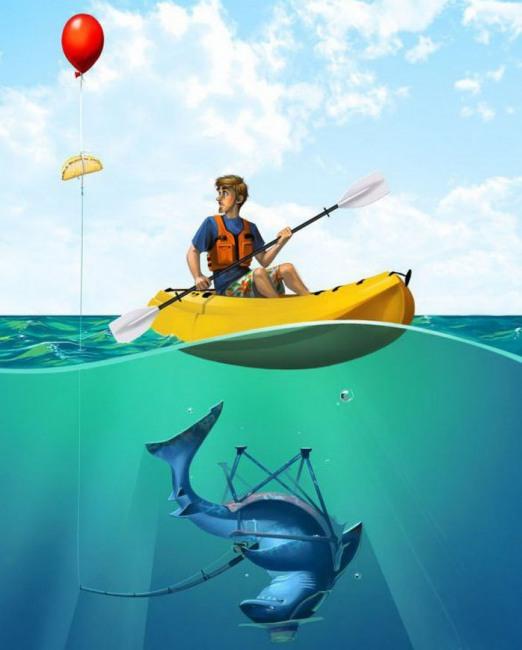 Малюнок  про риболовлю, акул чорний