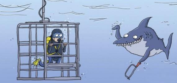 Малюнок  про акул, водолазів чорний