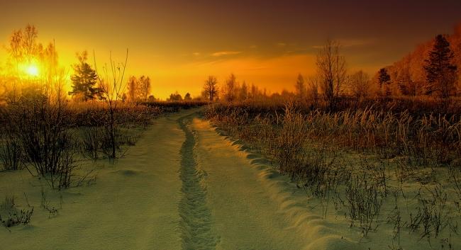 Фото прикол  про зиму, захід сонця та шляхи