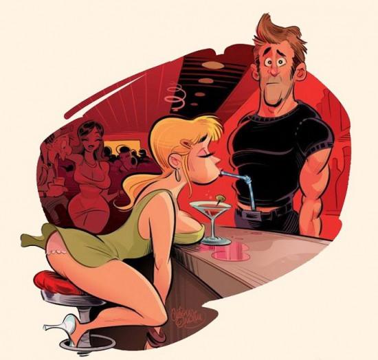 Малюнок  про бар, дівчат вульгарний