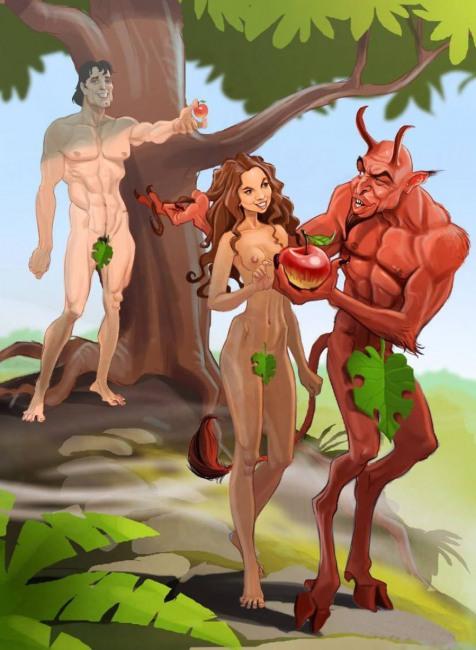 Малюнок  про адама, єву, диявола, спокушання вульгарний