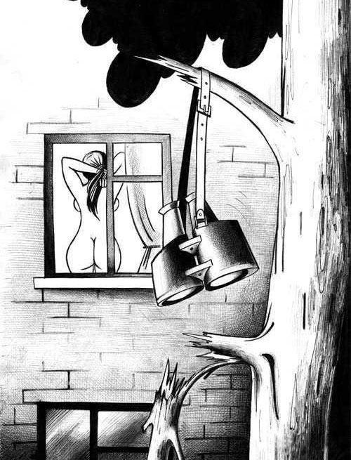 Малюнок  про підглядання вульгарний